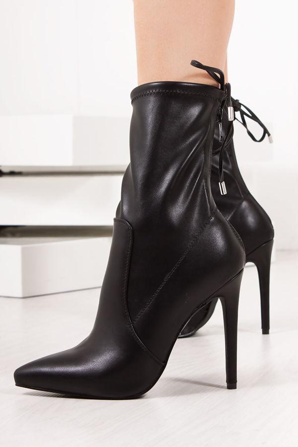 6b70f2484d7 ZARA Black Faux Leather Tie Back Stiletto Boots