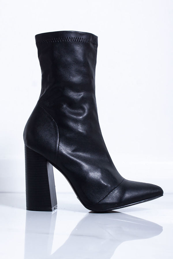 SAMARA Black Block Heel Sock Boots