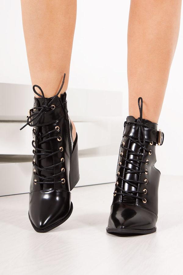 LEONA Black Open Back Block Heel Ankle Boots