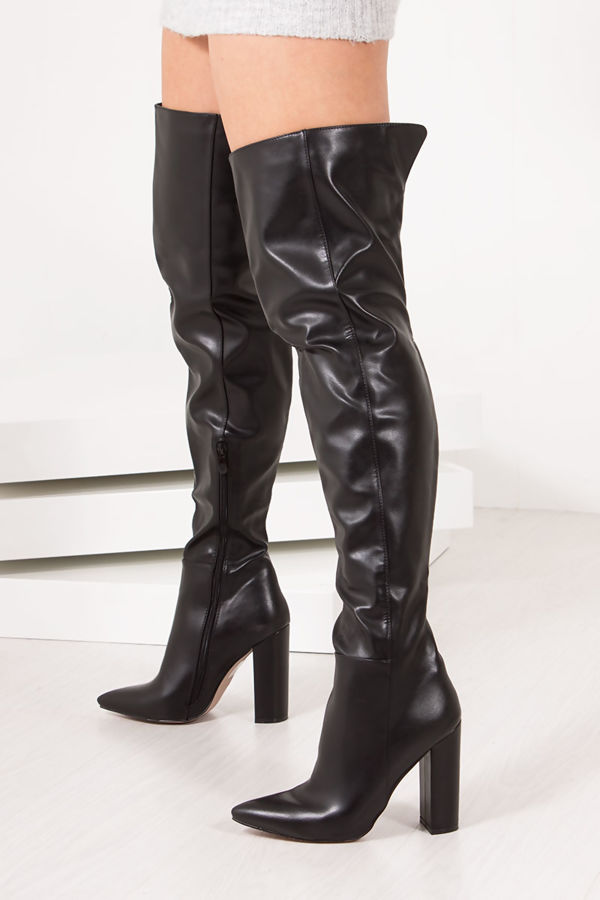 KAMMY Black Thigh High Block Heel Boots In Faux Leather