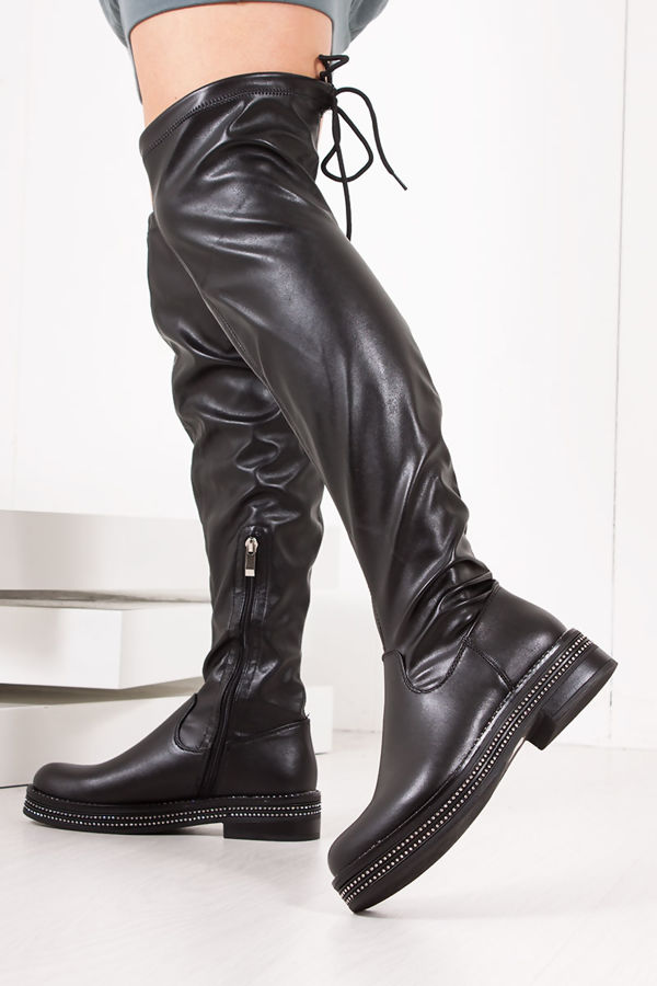 FRANKIE Black Diamante Faux Leather Flat Over The Knee Boots