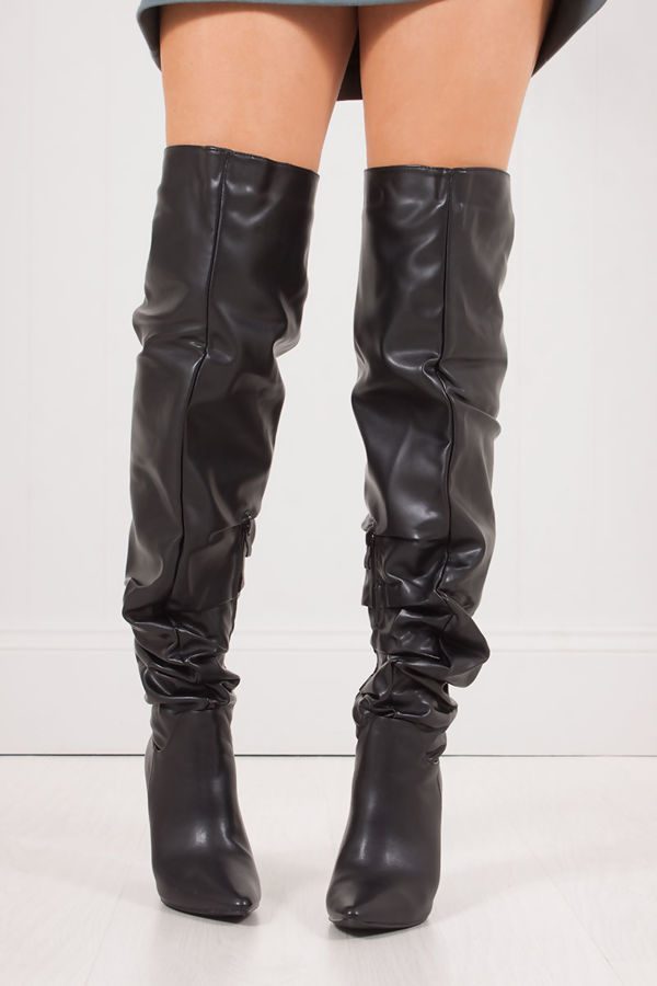 f1a8e7c4f23c VIVIENNE Black Faux Leather Slouch Over Knee Boots With Block Heel