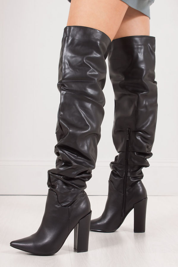 2372f6aa1b8 VIVIENNE Black Faux Leather Slouch Over Knee Boots With Block Heel