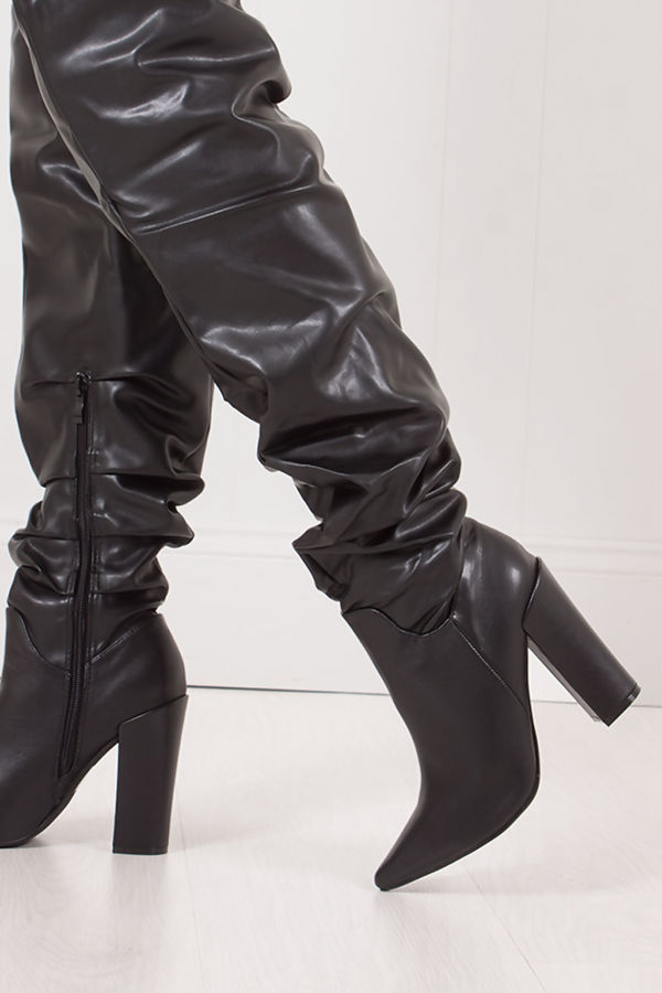 VIVIENNE Black Faux Leather Slouch Over Knee Boots With Block Heel