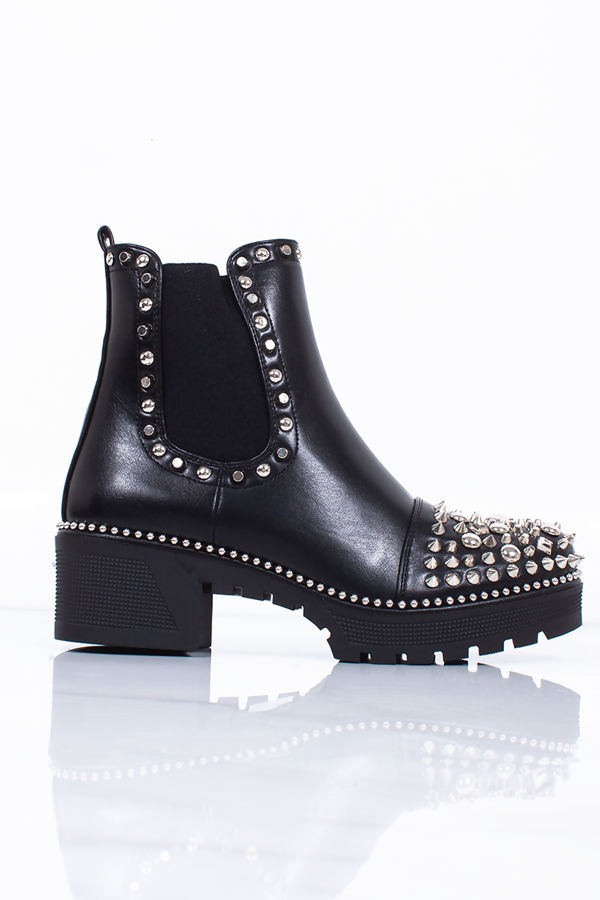 LOLA Black Stud Ankle Boots With Silver Stud Detail