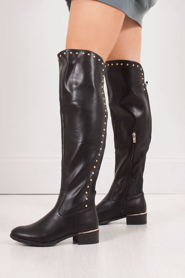 KASSIE Black Stud Over Knee Boots With Gold Detail