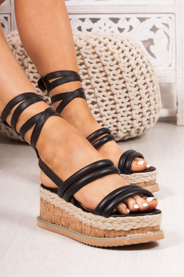 HARLOW Black Faux Leather Wrap Up Flatform Espadrille Sandals
