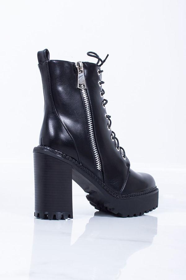 AMY Black Zip Biker Boots