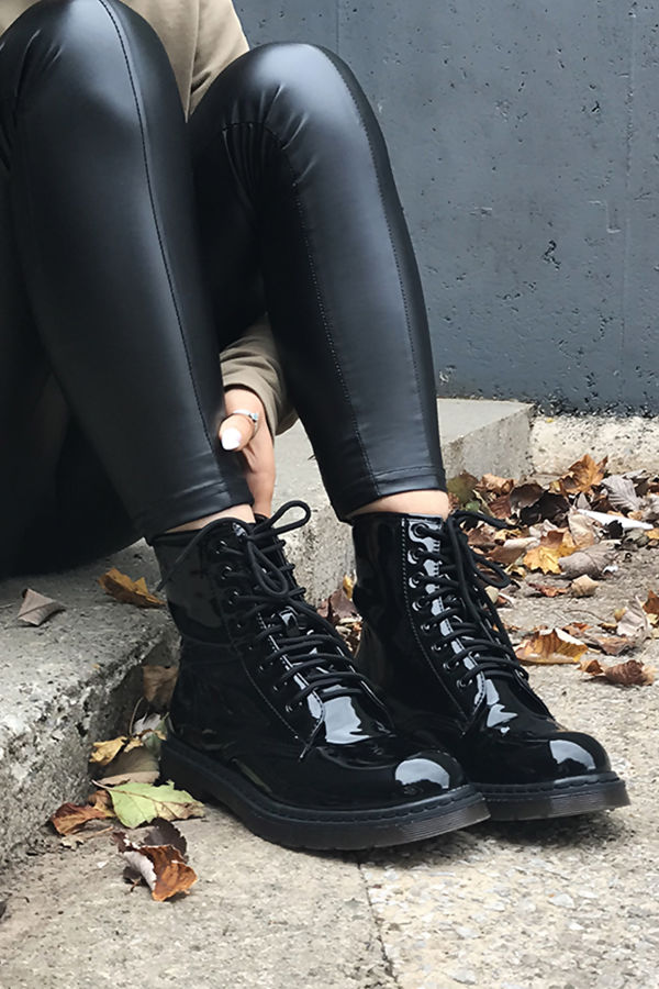 53cfd06afc1 OLIVIA Black Faux Patent Leather Ankle Boot