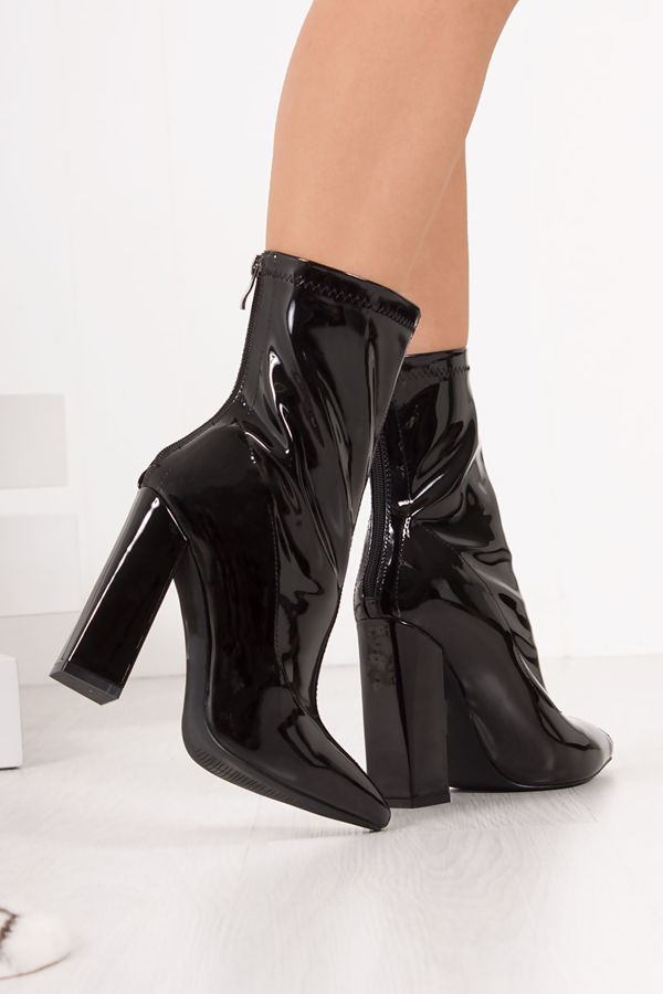 TIA Black Faux Patent Leather Block Heel Boots