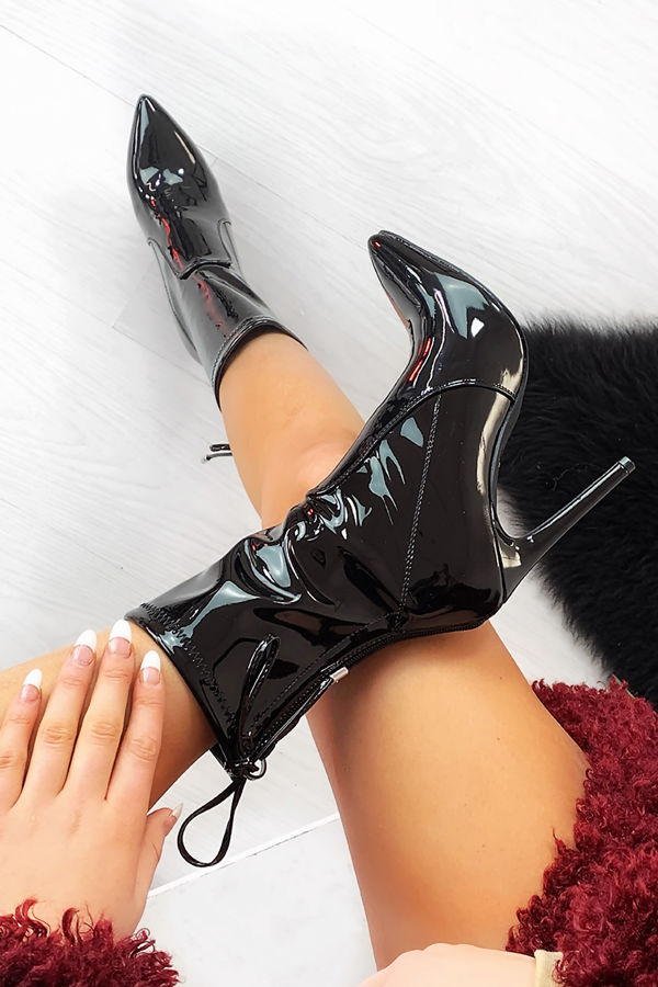 ZARA Black Patent Tie Back Stiletto Boots