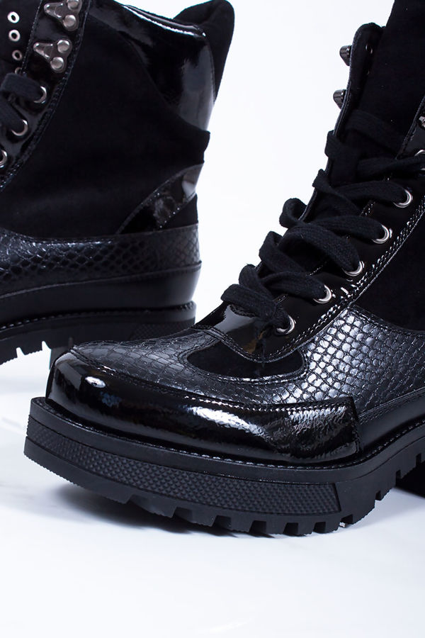 MARCIE Black Croc Print Trim Chunky Sole Ankle Boots