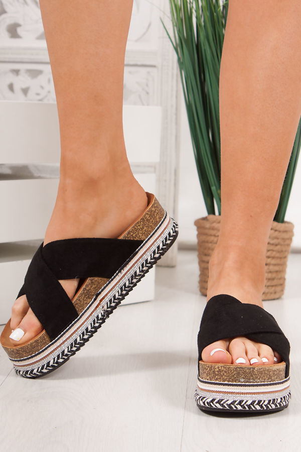 ROXIE Black Cross Strap Aztec Flatform Sandals
