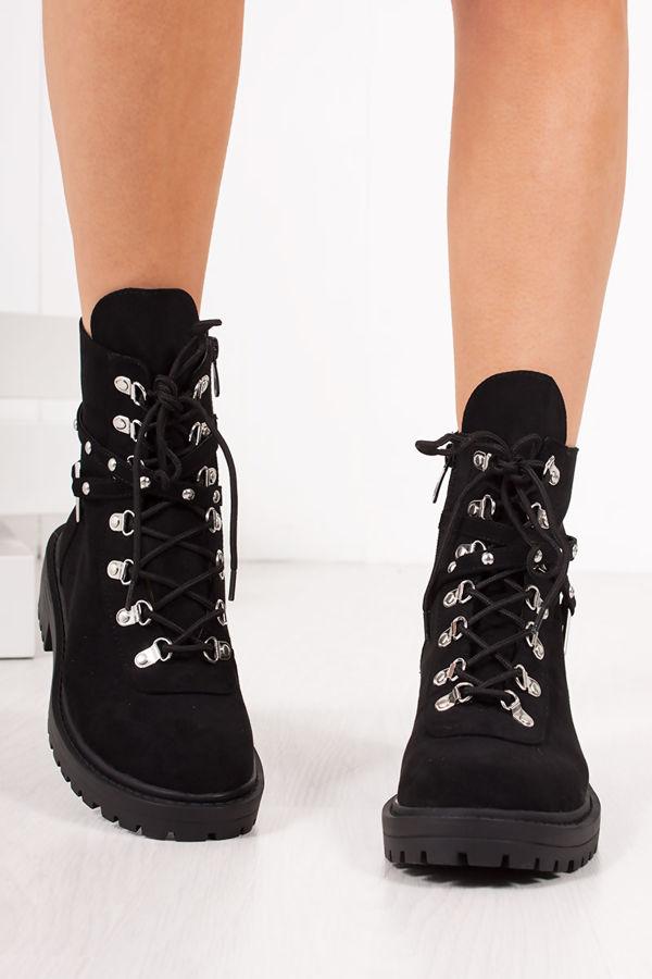 APRIL Black Faux Suede Strap Biker Boots
