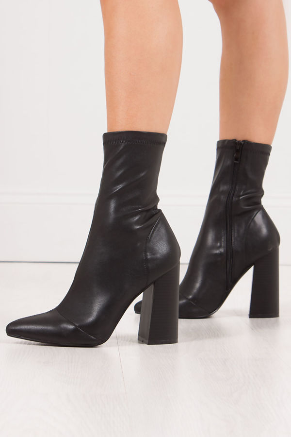 92e997eaaa0 MIMI Black Fitted Block Heel Sock Boots In Faux Leather