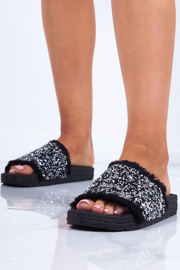 SAGE Black Diamante Strap Espadrille Sliders