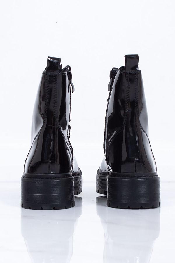 SOFIA Black High Shine Chunky Platform Lace Up Ankle Boots
