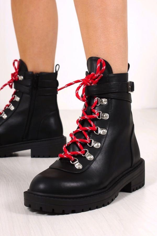 KAYLA Black Faux Leather Buckle Biker Boots