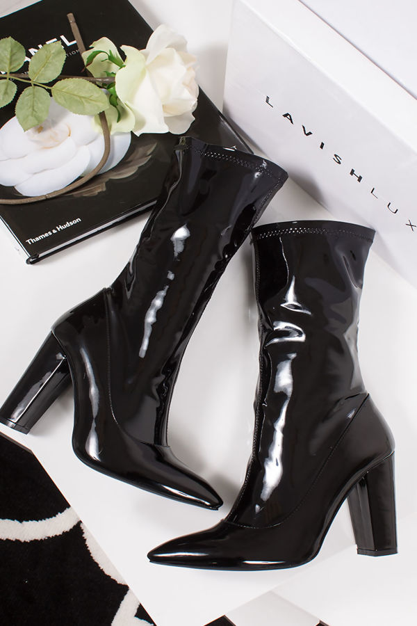 BROOKE Black PVC Block Heel Sock Boots