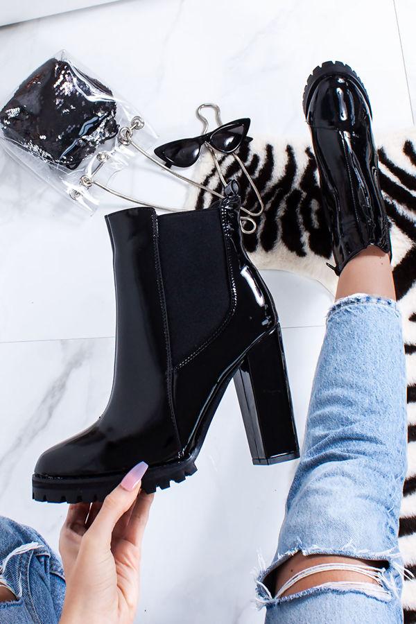 SIERRA Black Patent Chunky Platform Boots
