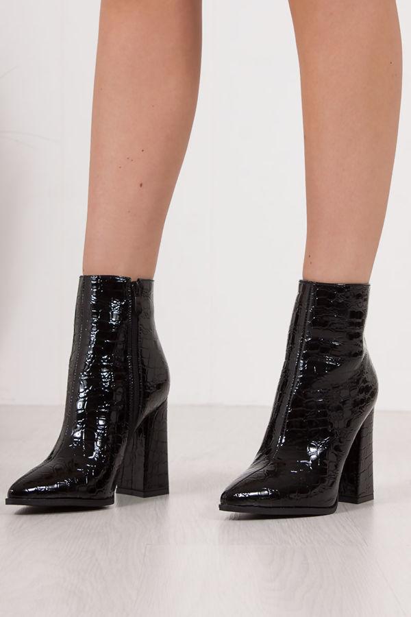 ATHENA Black Croc Block Heel Patent Ankle Boots