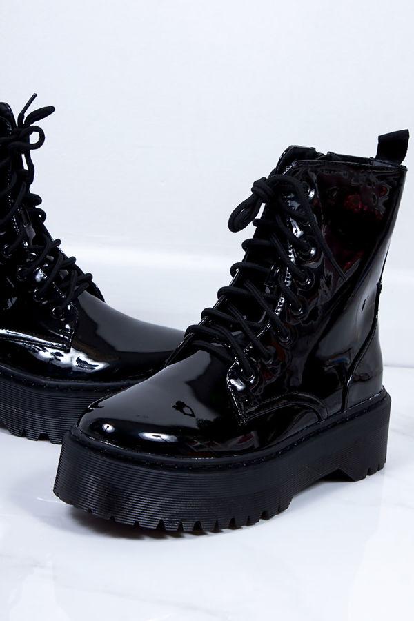 MARIANA Black High Shine Chunky Platform Lace Up Ankle Boots