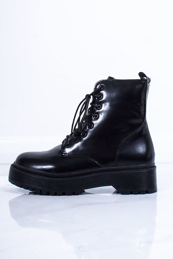 CECILIA Black Chunky Platform Lace Up Ankle Boots
