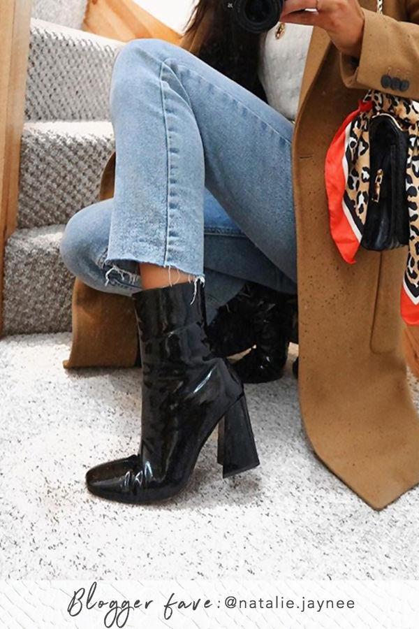 WITNEY Black High Shine Flared Block Heel Boots