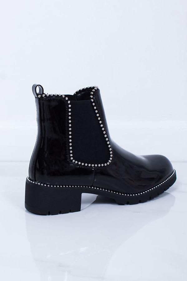 ALEX Black Patent Stud Chelsea Boots