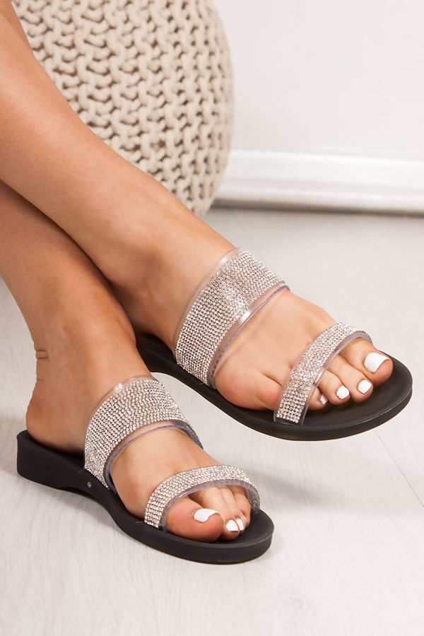 BETHANY Black Diamante Strap Jelly Sandals