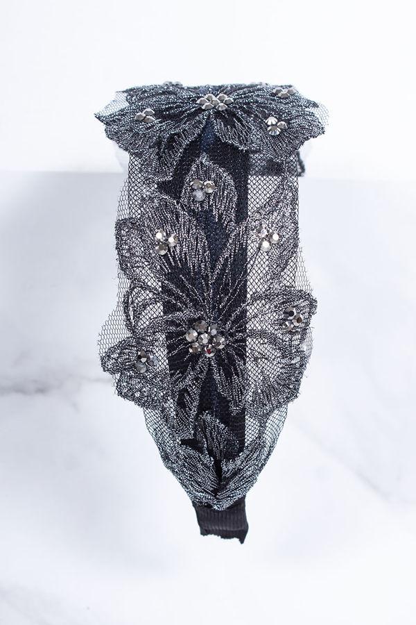 REAGAN Silver Lace Flower Headband