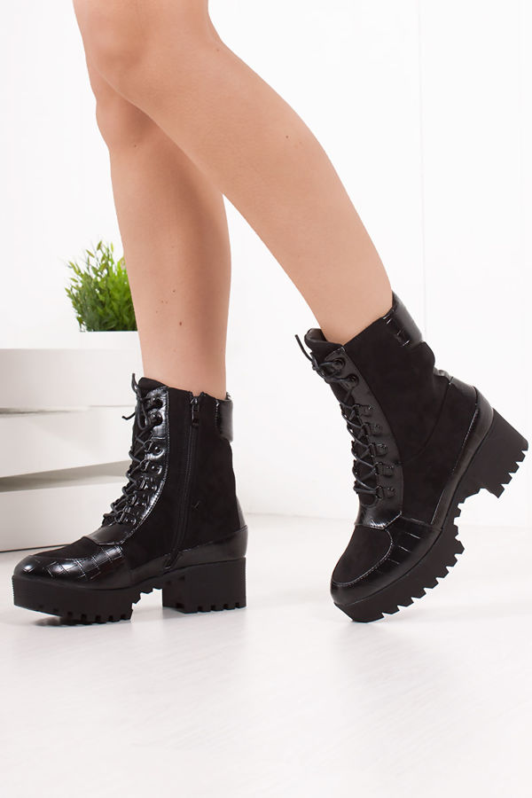 TAMMY Black Croc Biker Boots