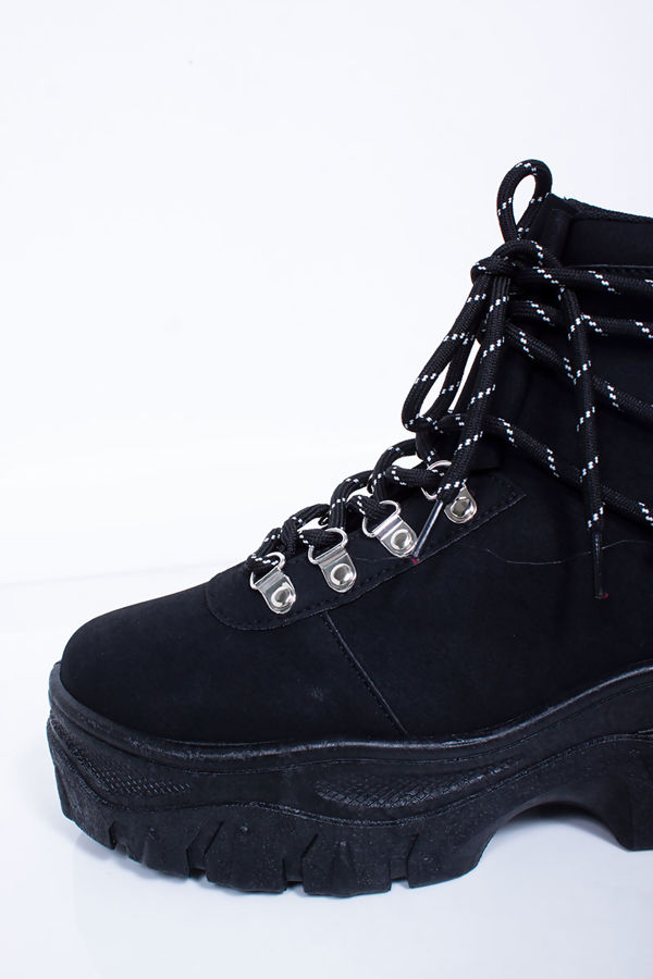 HAILEY Black Lace Up Hi-Top Chunky Hiker Trainers