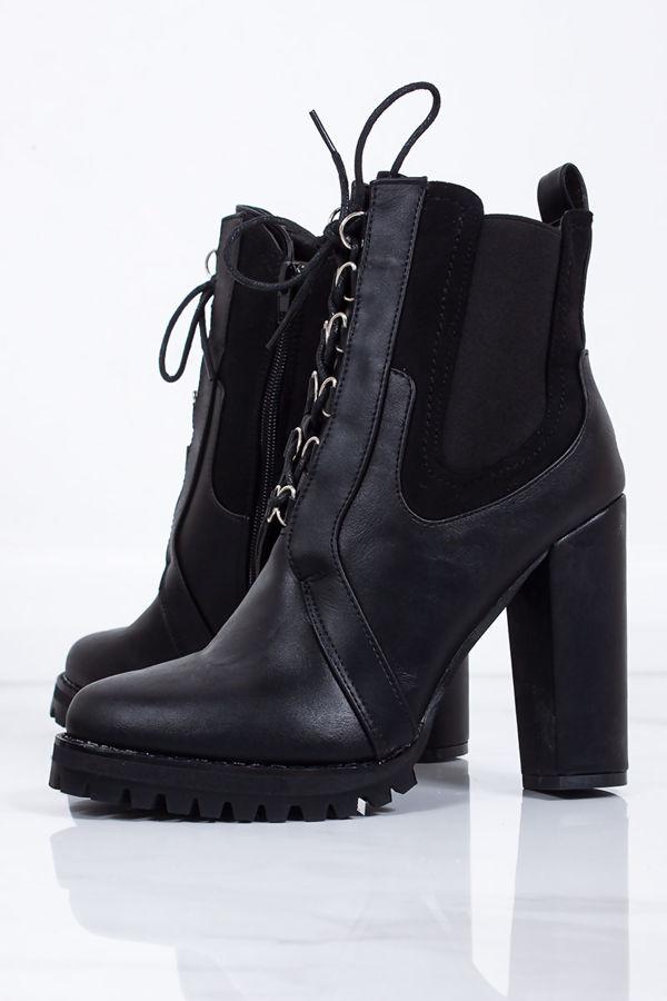 LENA Black Chunky Platform Hiker Boots