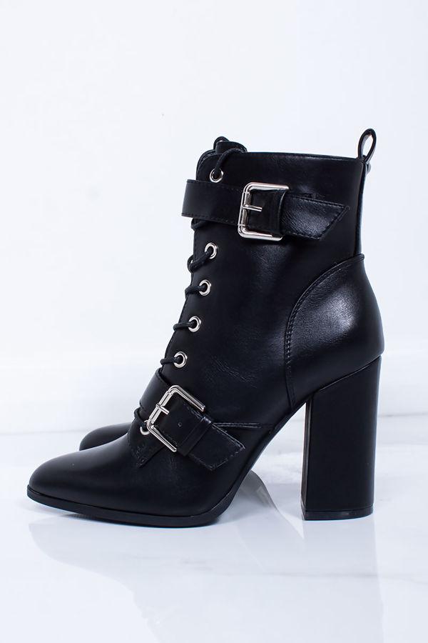 RIAH Black Buckle Strap Block Heeled Boots