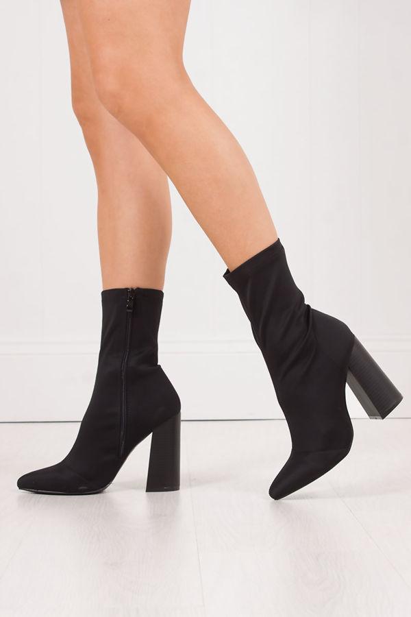 mimi black fitted block heel sock boots in lycra