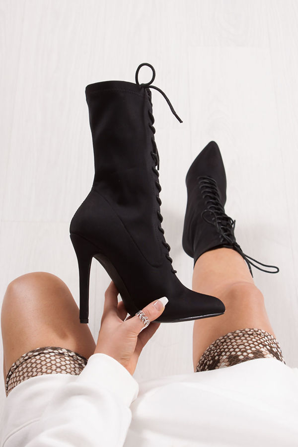 ZOEY Black Lace Up Boots In Lycra