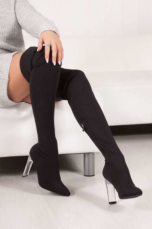 ADRIENNE Black Lycra Over Knee Boots With Clear Heel