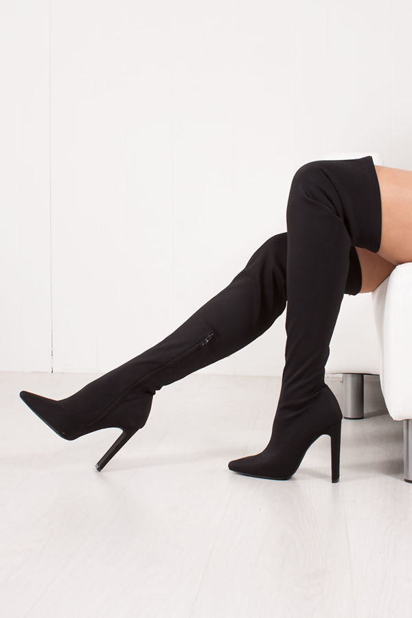 SIERRA Black Over Knee Lycra Sock Boots