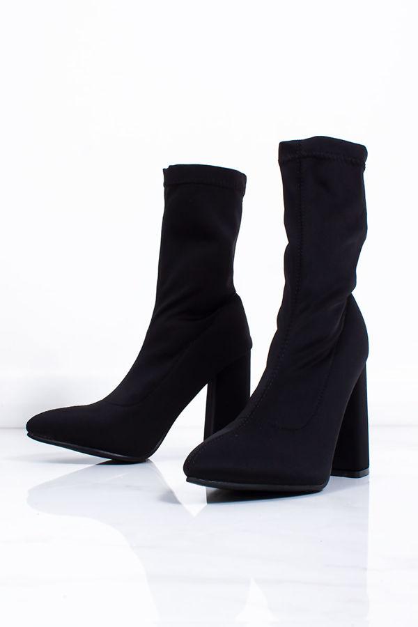 TIFFANY Black Lycra Block Heel Boots