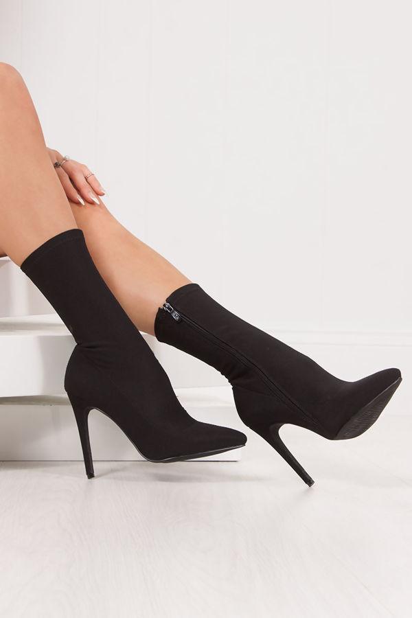 KATELYN Black Knitted Stiletto Sock Boots