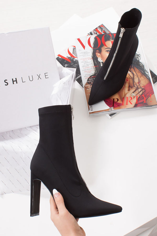 JHENE Black Lycra Zip Front Slim Block Heel Sock Boots