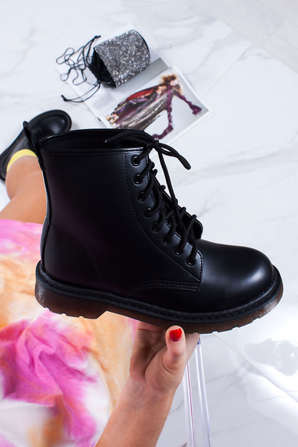 c81106bed71 OLIVIA Black Faux Leather Ankle Boot