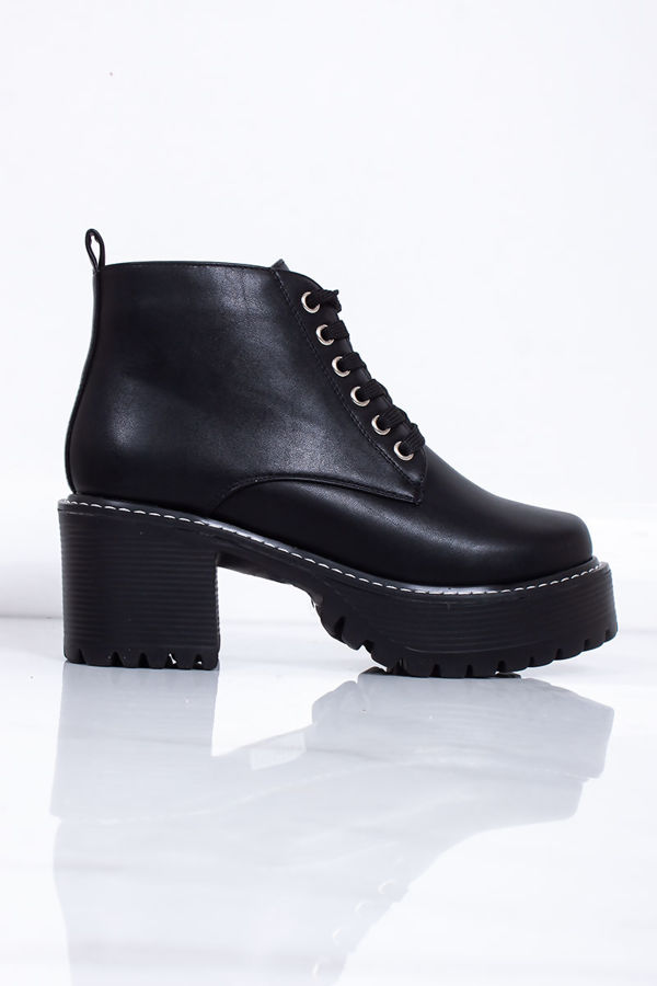 ARIANA Black Faux Leather Lace Up Chunky Ankle Boots