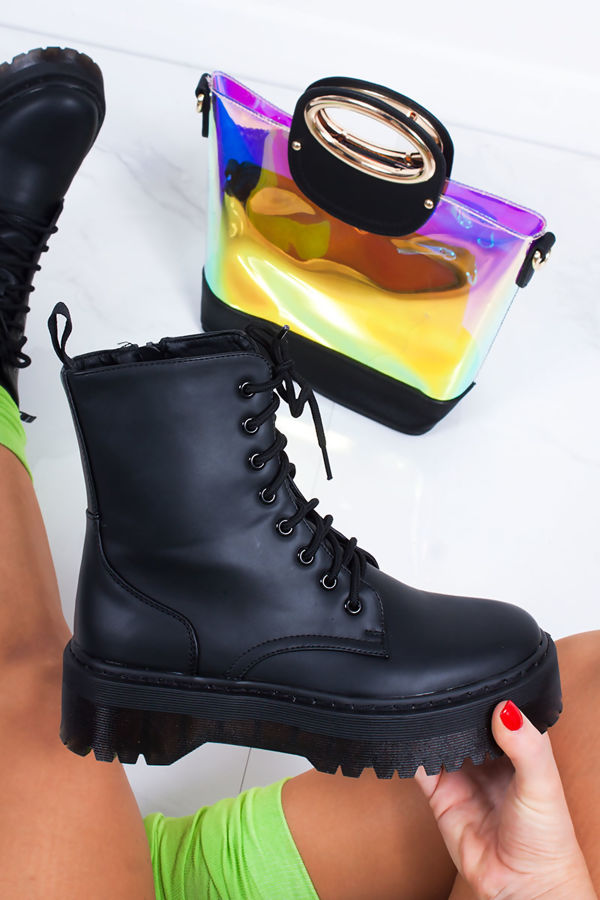MARIANA Black Matte Chunky Platform Lace Up Ankle Boots