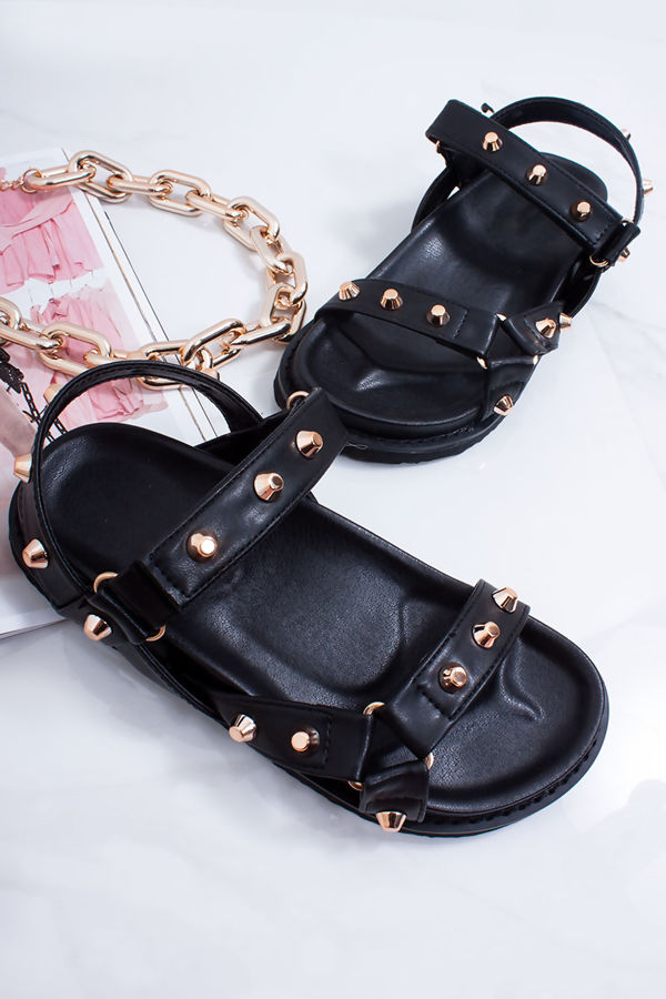 new style outlet for sale performance sportswear ALISA Black Multi Strap Stud Detail Chunky Sole Sandals