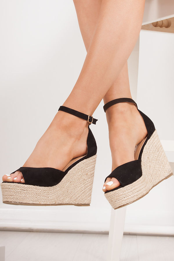 NATASHA Black Espadrille Wedges