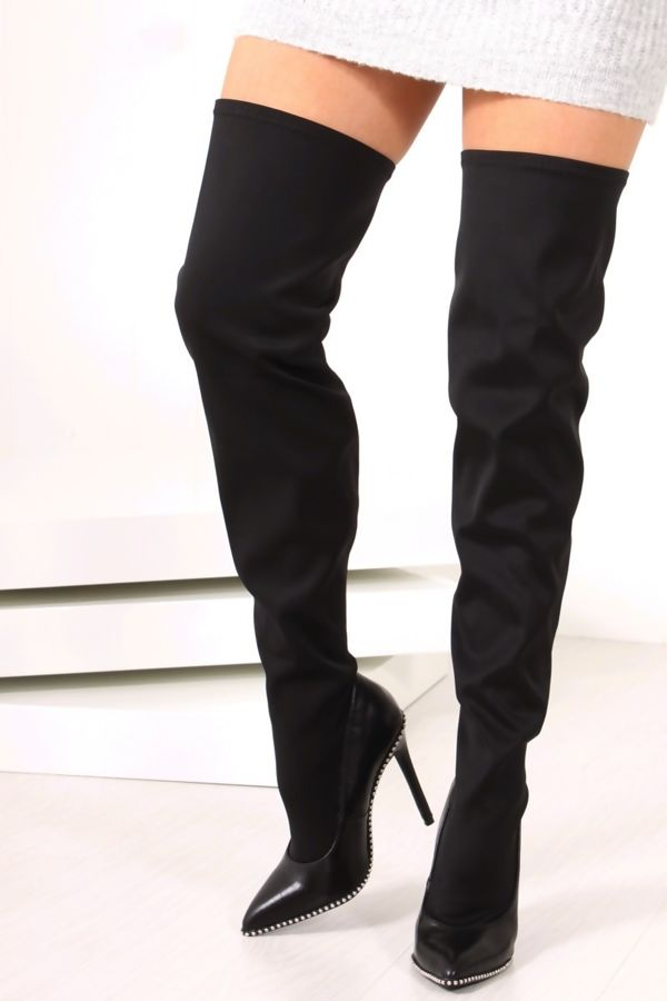 KASEY Black Silver Stud Faux Leather Two Tone Over The Knee Boots