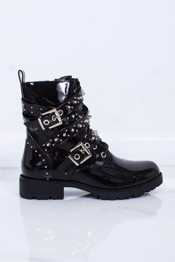 ZARA Black Patent Stud Buckle Strap Biker Boots