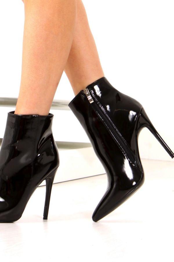 ALEXANDER Black Faux Patent Leather Stiletto Ankle Boots